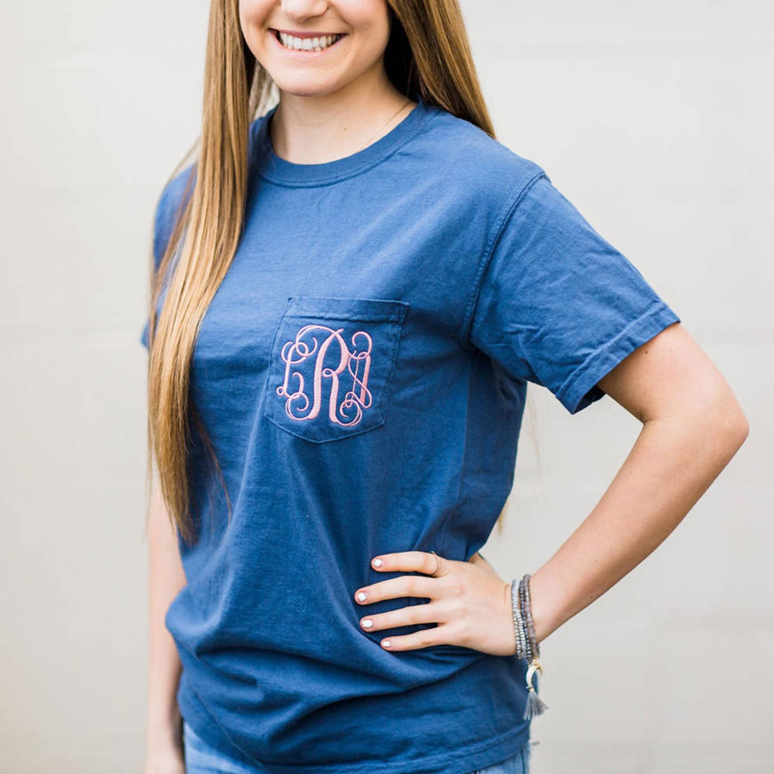 blue and pink monogram shirt